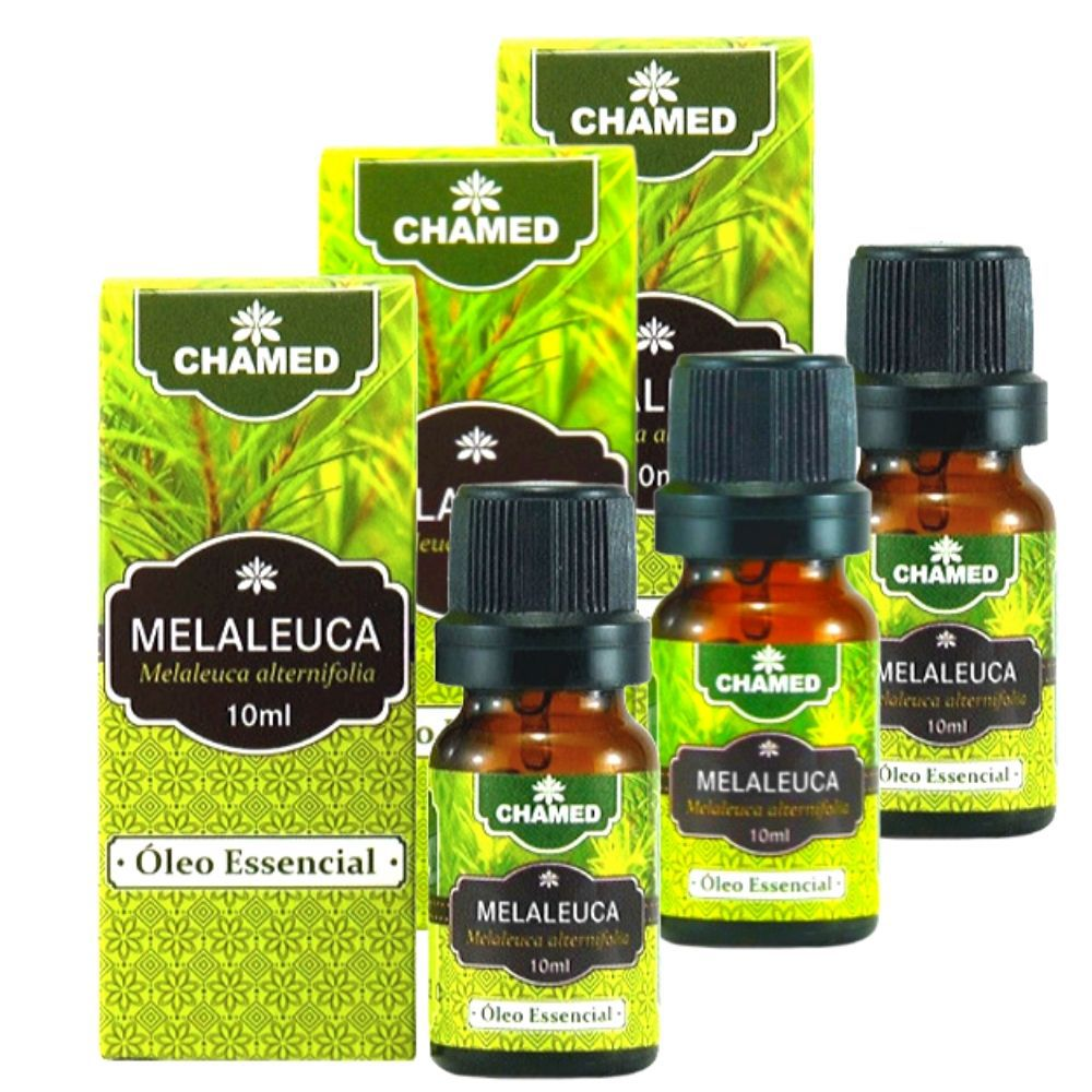Óleo Essencial de Melaleuca   Tea Tree  10ml    CHAMEL  100% Puro   3 Frascos