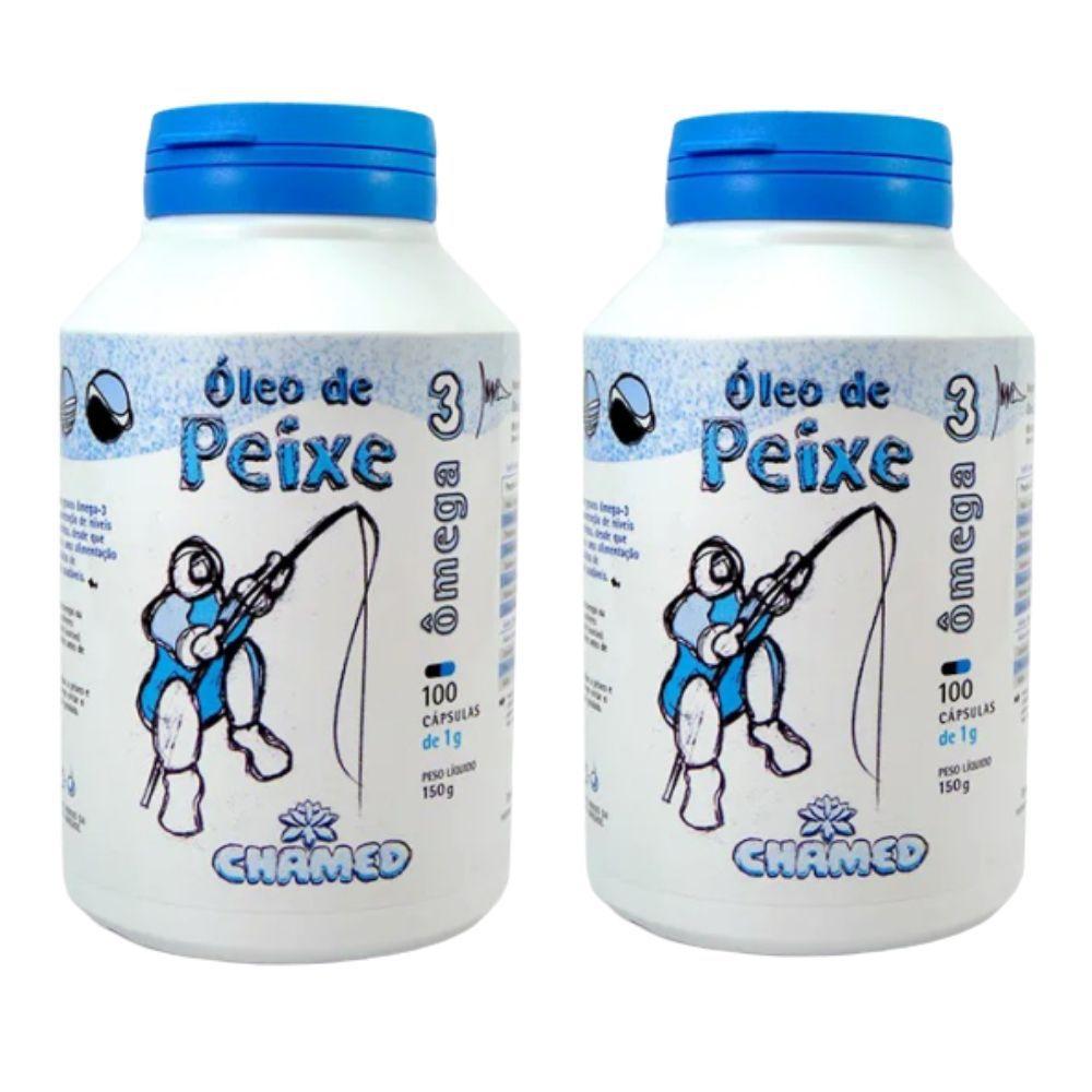 Ômega 3 - Óleo de Peixe - 2 Frascos de 100 Cápsulas de 1g - CHAMED