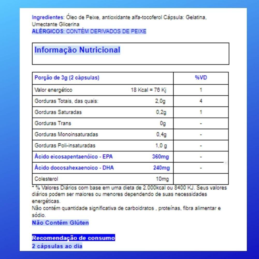 Ômega 3  Óleo de Peixe  60 em cápsulas de 1000mg   CHAMEL