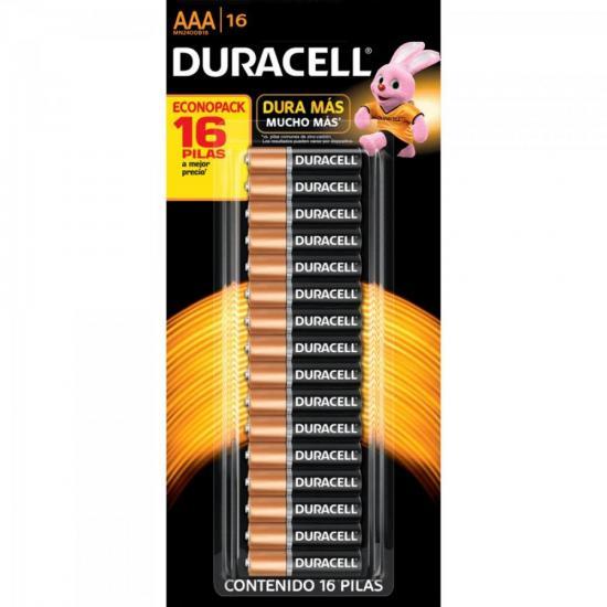Pilha Alcalina Pequena com 16 UNID. AAA Duracell