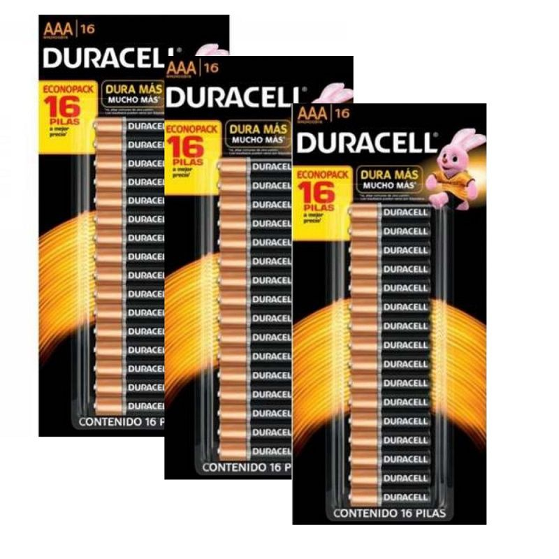 Pilha Alcalina Pequena Com  48 Unid. Aaa * Duracell - (3 cartelas com 16)