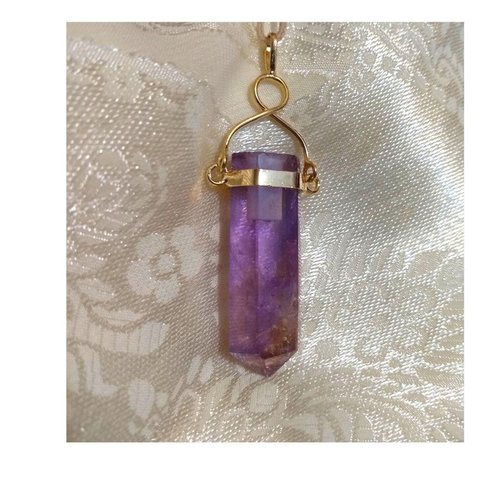 Pingente Ametista com suporte banhado em ouro (Perfumeira para Aromaterapia ou  Difusor Pessoal)
