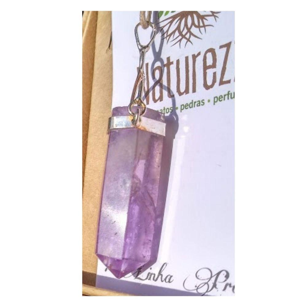Pingente Ametista com suporte banhado em prata (Perfumeira para Aromaterapia ou  Difusor Pessoal)