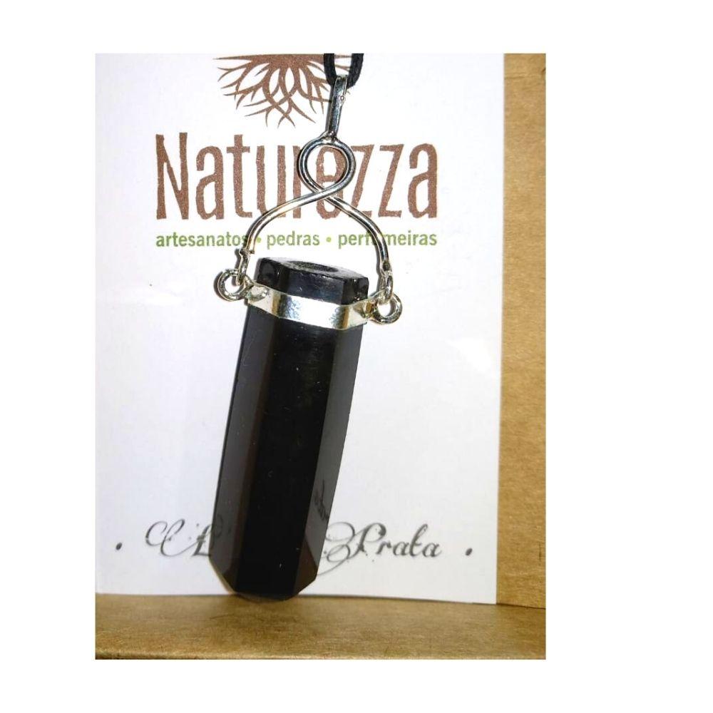 Pingente Obsidiana c/  prateado ( Perfumeira para Aromaterapia ou  Difusor Pessoal)