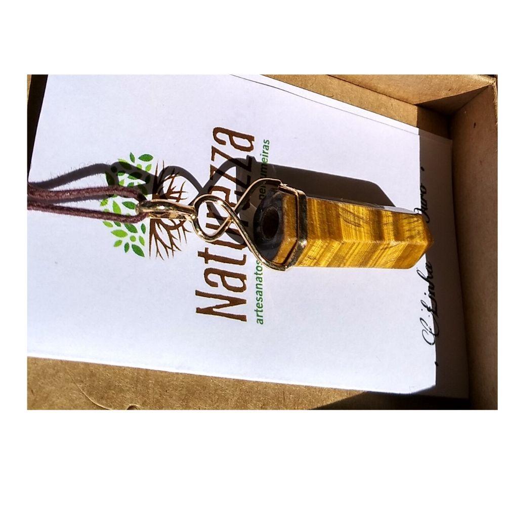 Pingente  Olho de Tigre  c/ dourado (Perfumeira para Aromaterapia ou  Difusor Pessoal)