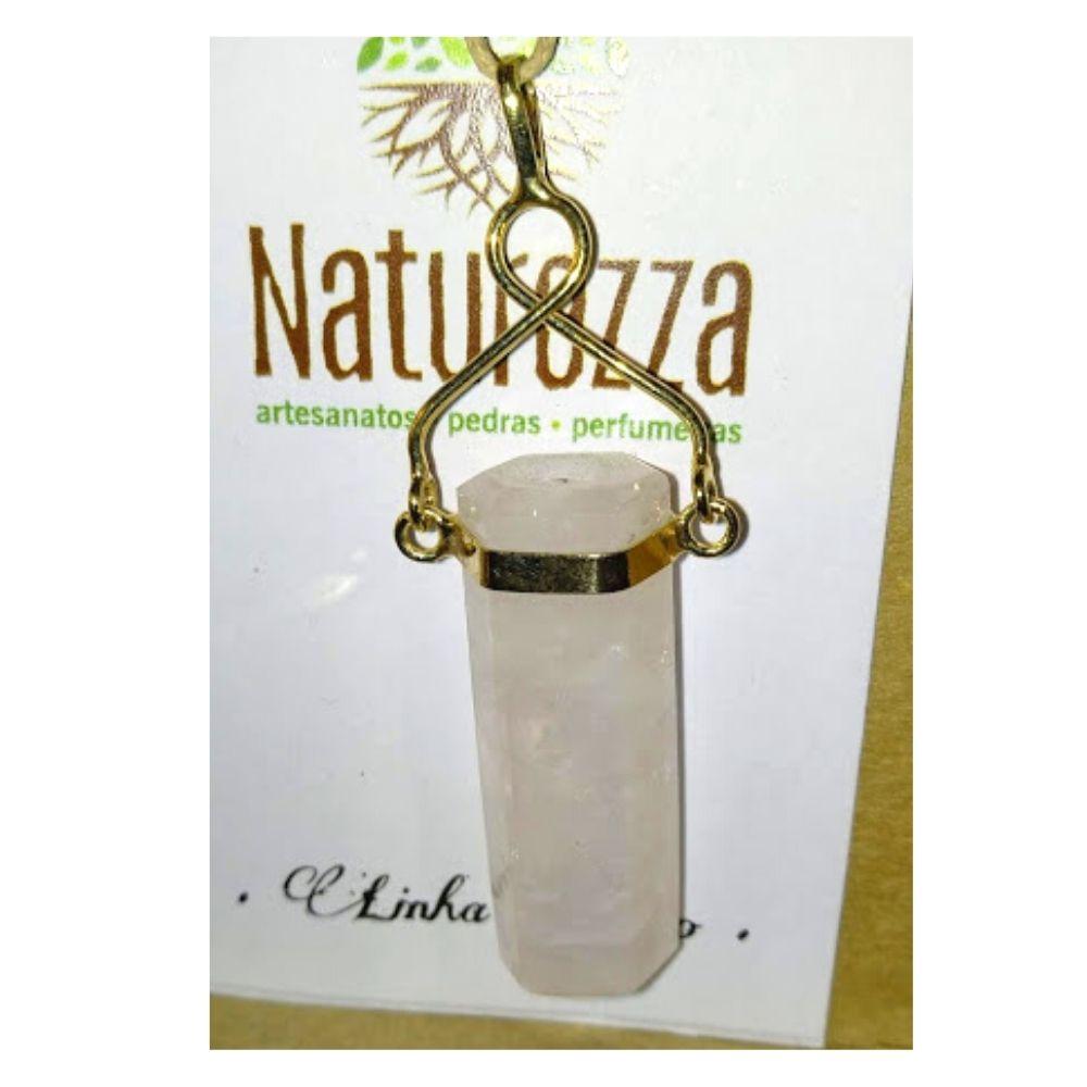 Pingente Quartzo Rosa folheado a Ouro (Joia e Perfumeira para Aromaterapia ou  Difusor Pessoal)