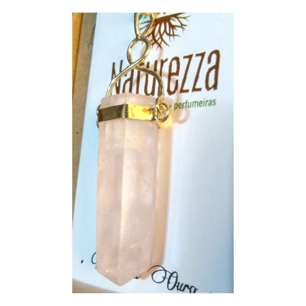 Pingente Quartzo Rosa folheado a Ouro  Perfumeira para Aromaterapia ou  Difusor Pessoal)