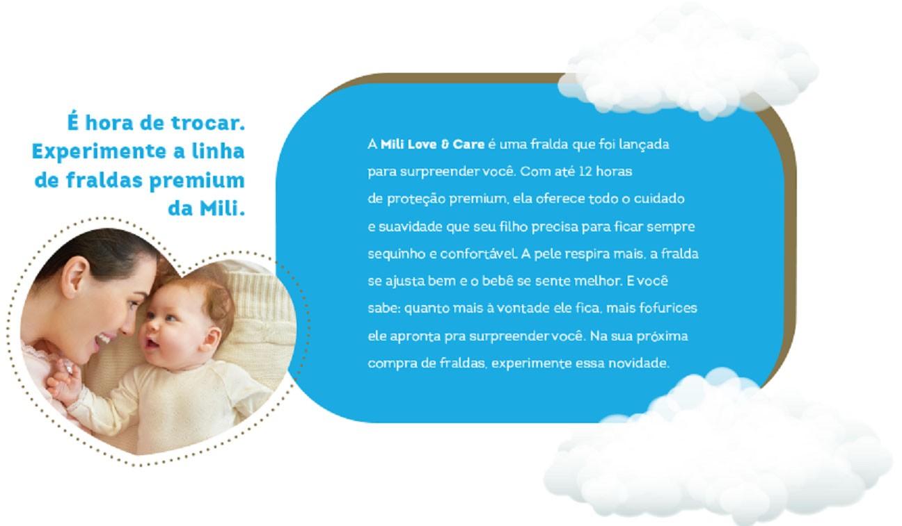 Fralda Descartável Mili- Love& Care- Linha Premiun- Tamanho XG-3 Pacotes
