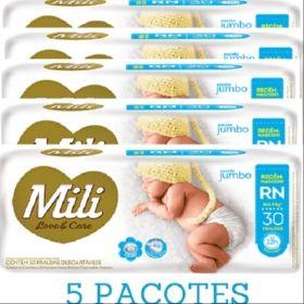 Promoção Fralda Mili RN LOVE&CARE 5 Pacotes