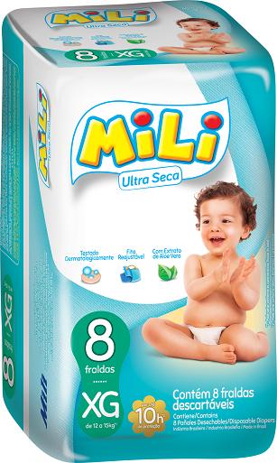 Fralda Mili ULTRA SECA- Tamanho XG- Diurno -9 Pacotes com 8 Fraldas (total: 72 Fraldas)