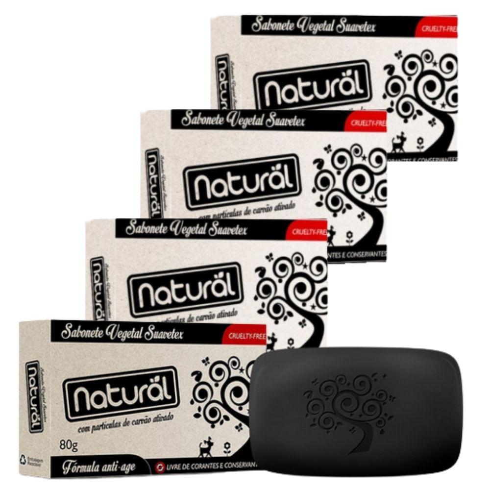 Sabonete Natural com Carvão Ativado 80g (Vegano)- 4 sabonetes