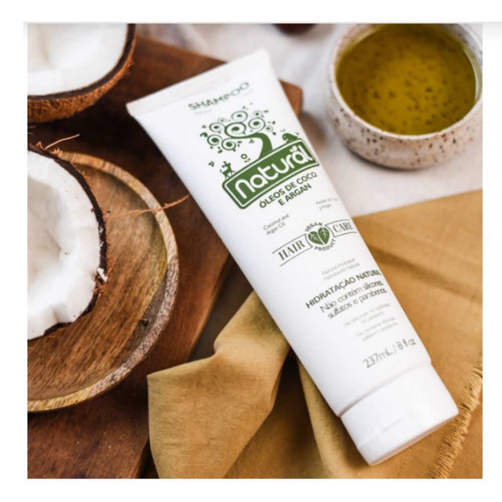 Shampoo Natural - Óleos de Coco e Argan  237ml - Vegano