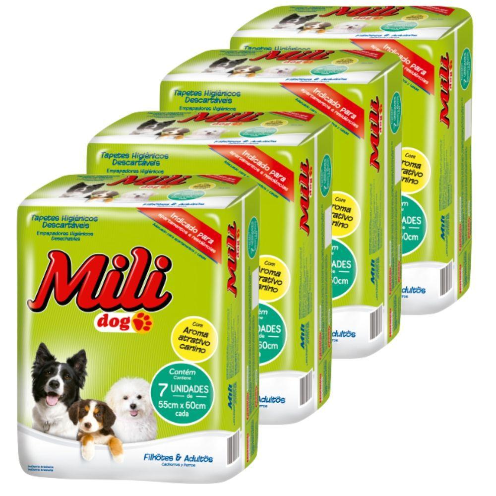 Tapete HIGIENICO- Mili DOG - 4 Pacotes com 7 (total: 28 tapetes)