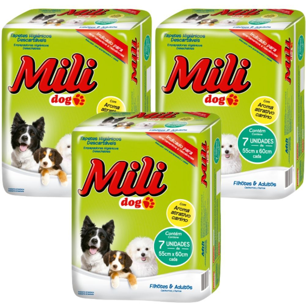 Tapete Higiênico Pet   Mili DOG   3 Pacotes com 7 (total:  21 tapetes)