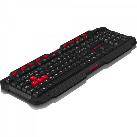 Teclado Gamer Multimidia Spider GK-704BK PRETO/VERMELHO Fortrek