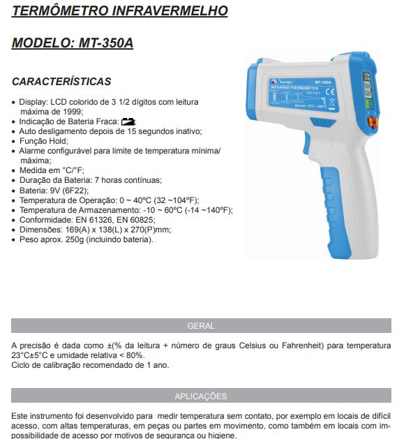 Termometros Infravermelhos MT350A AZUL/BRANCO Minipa