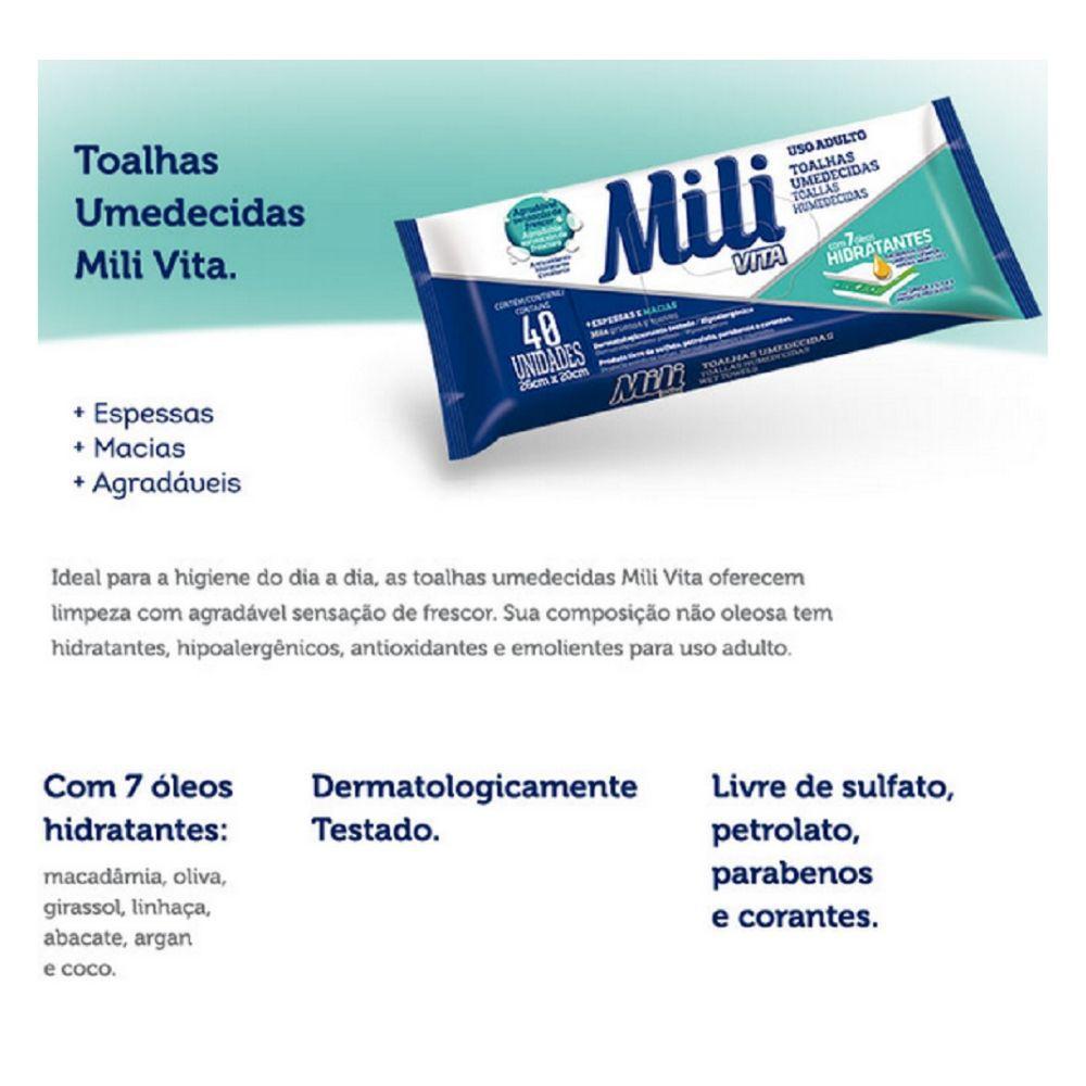 Toalha Umedecida Mili Vita   Lenço Umedecido  Uso Adulto    3 Pacotes com 40 unidades  Total 120 Toalhas