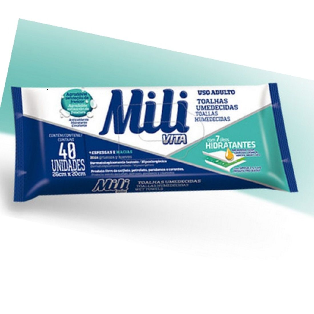 Toalhas Umedecidas Mili Vita (uso Adulto) - 12 Pacotes C/40 UN Cada - Lenço Umedecido