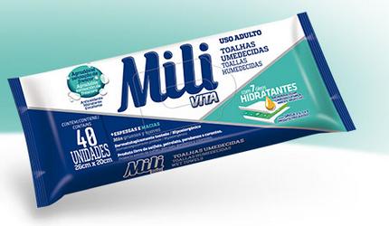 Toalhas Umedecidas Mili Vita (uso Adulto) - 5 Pacotes  C/40 Unidades (total: 200 unid)