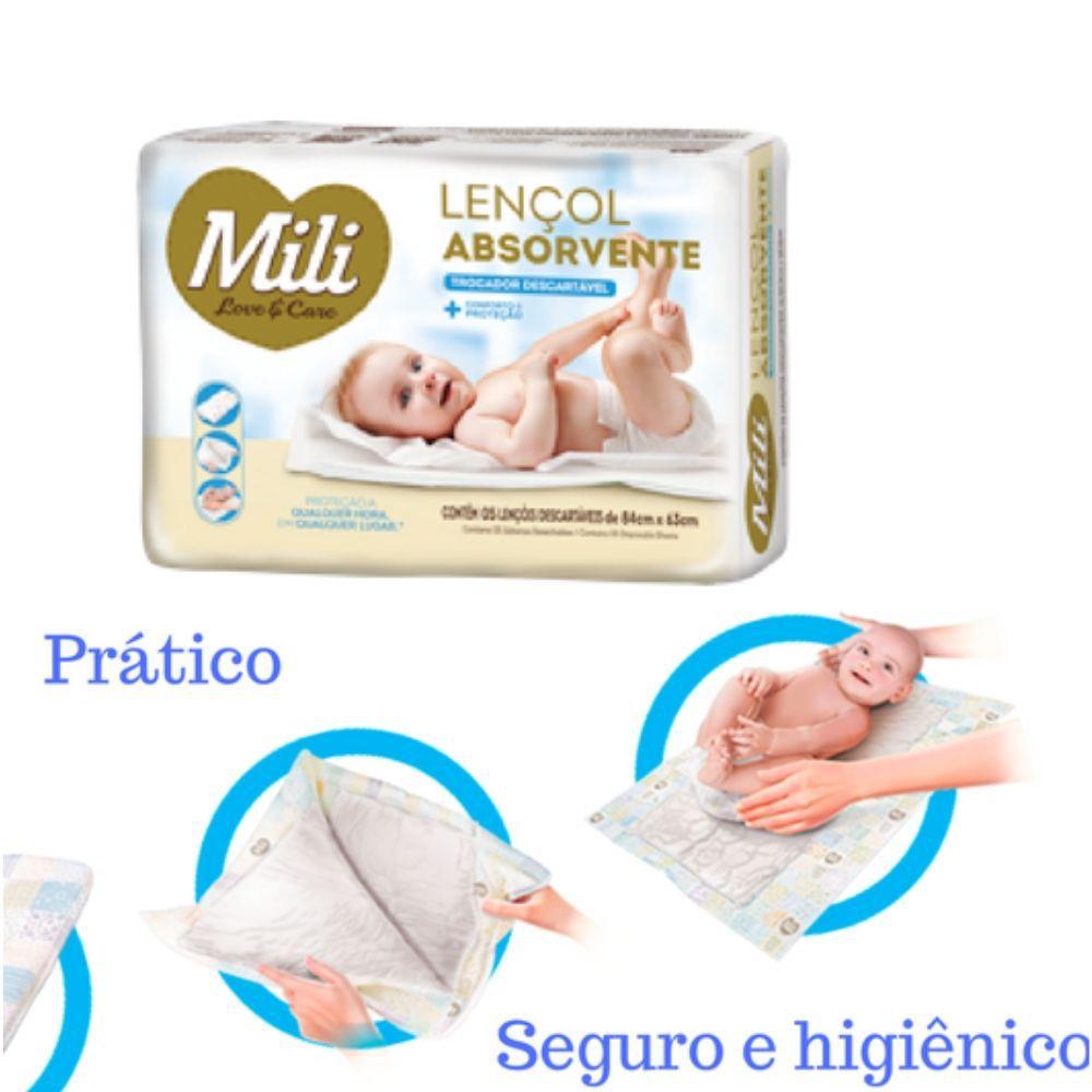 Trocador Descartável - Lençol Absorvente Mili -  4 Pacotes com 5 undiades (Total 40 lençóis)