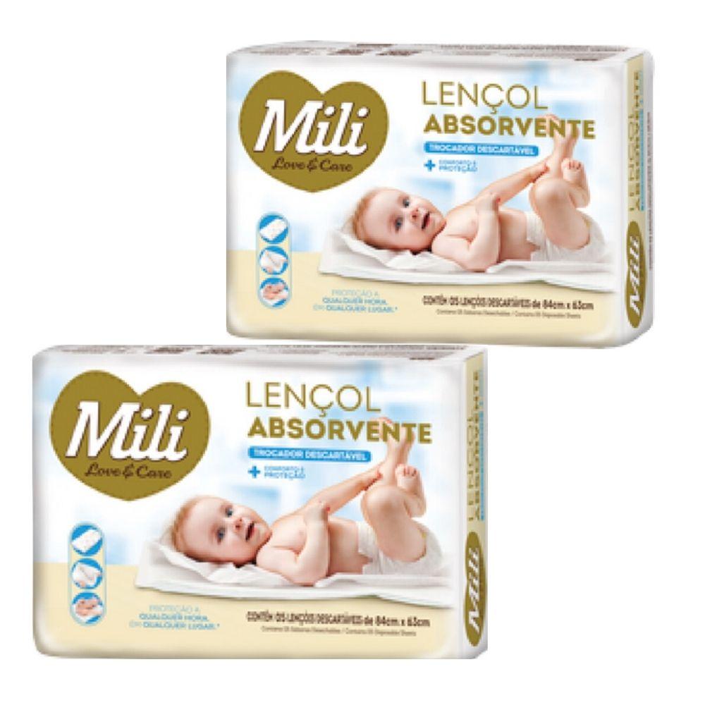 Trocador Descartável Mili Love Care  2 Pacotes com 5 unidades ( Total:10 lençóis)