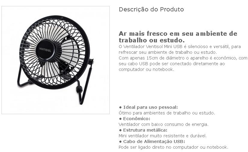 Ventilador de Mesa 15CM Bivolt Mini USB Preto* Ventisol