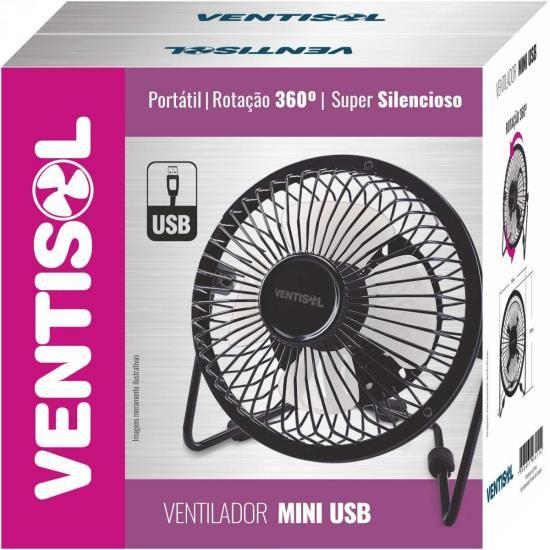 Ventilador de Mesa 15CM Bivolt Mini USB Preto Ventisol