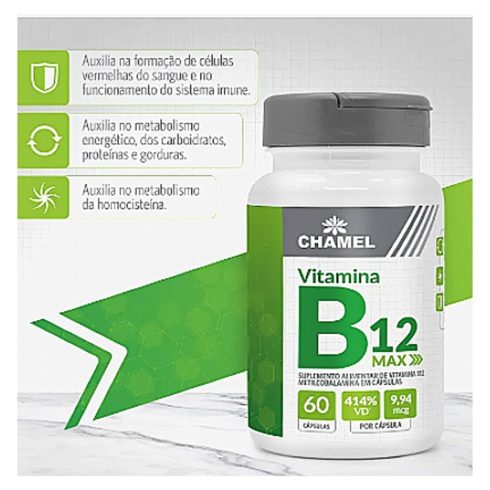Vitamina B12 Max - 60 cápsulas (Metilcobalamina) - Chamel