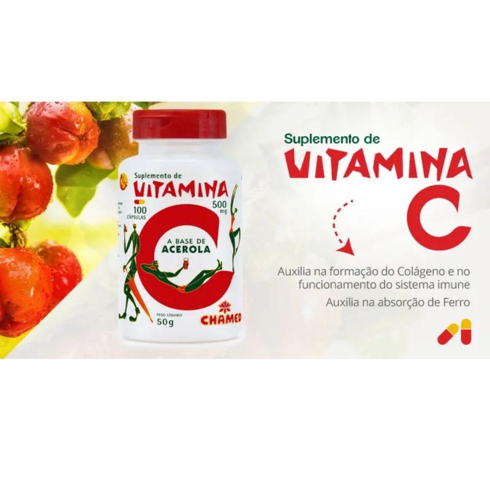 Vitamina C em Cápsulas   100 cápsulas de 500mg   Chamel