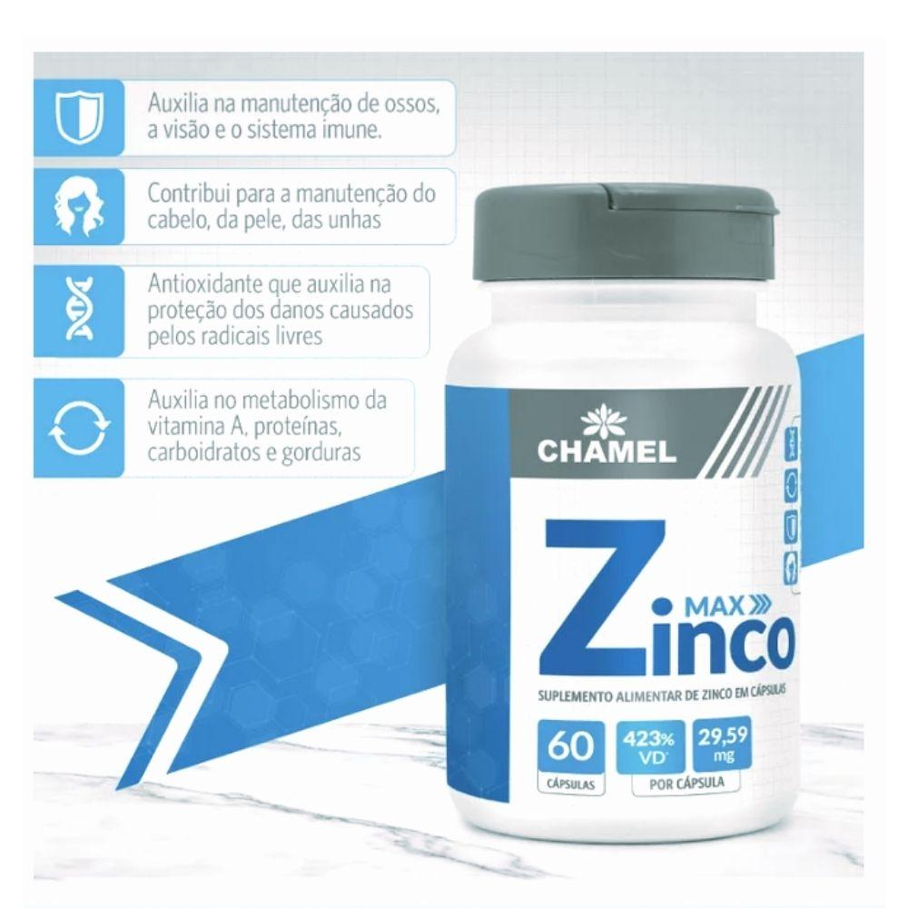 Zinco Max  60 cápsulas  Chamel  (Alto Teor de Zinco (29,59 mg)