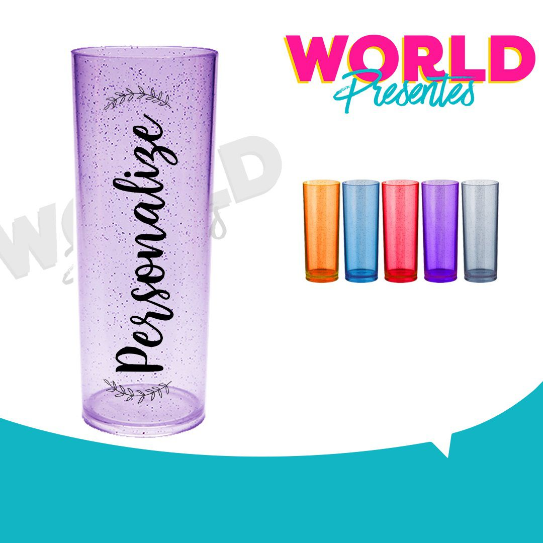 100 Copos Long Drink Glitter 350ml Personalizado