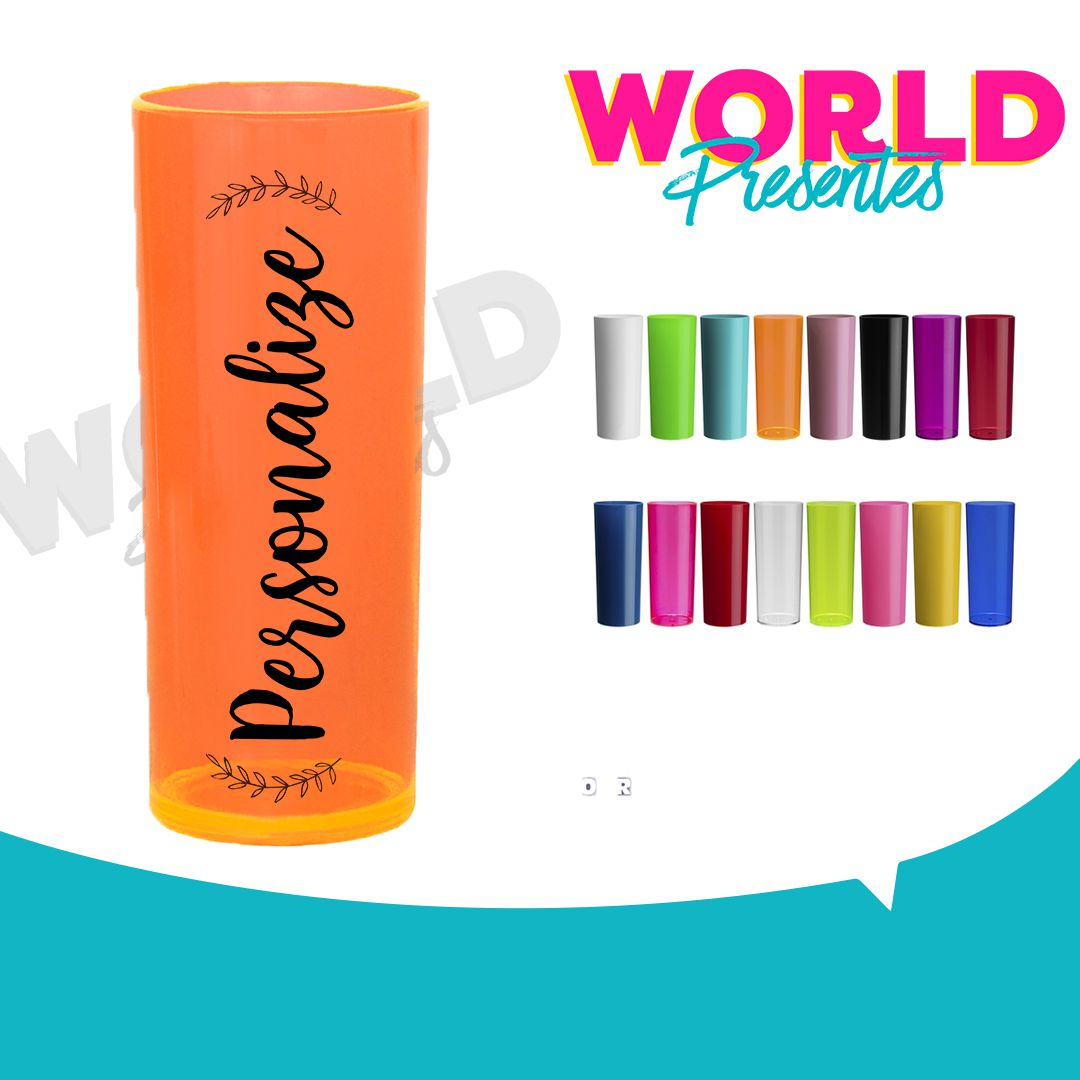 100 Copos Long Drink Neon 350ml Personalizado