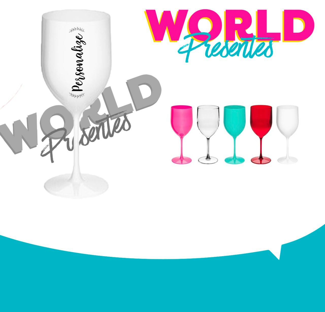 100 Taças de Vinho 400ml Personalizado