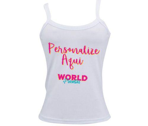 975c1286e8753 Camiseta Personalizada Regata Feminina Fem Poliester Branca - World ...