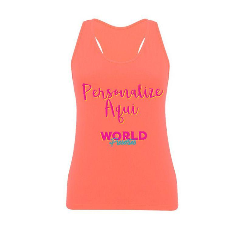 Camiseta Personalizada Regata Laranja Neon