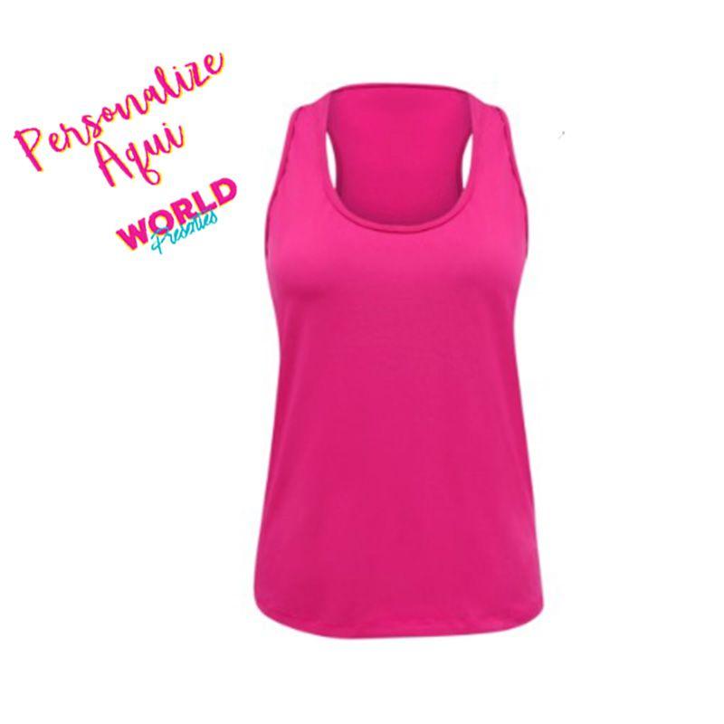 Camiseta Personalizada Regata Rosa Neon