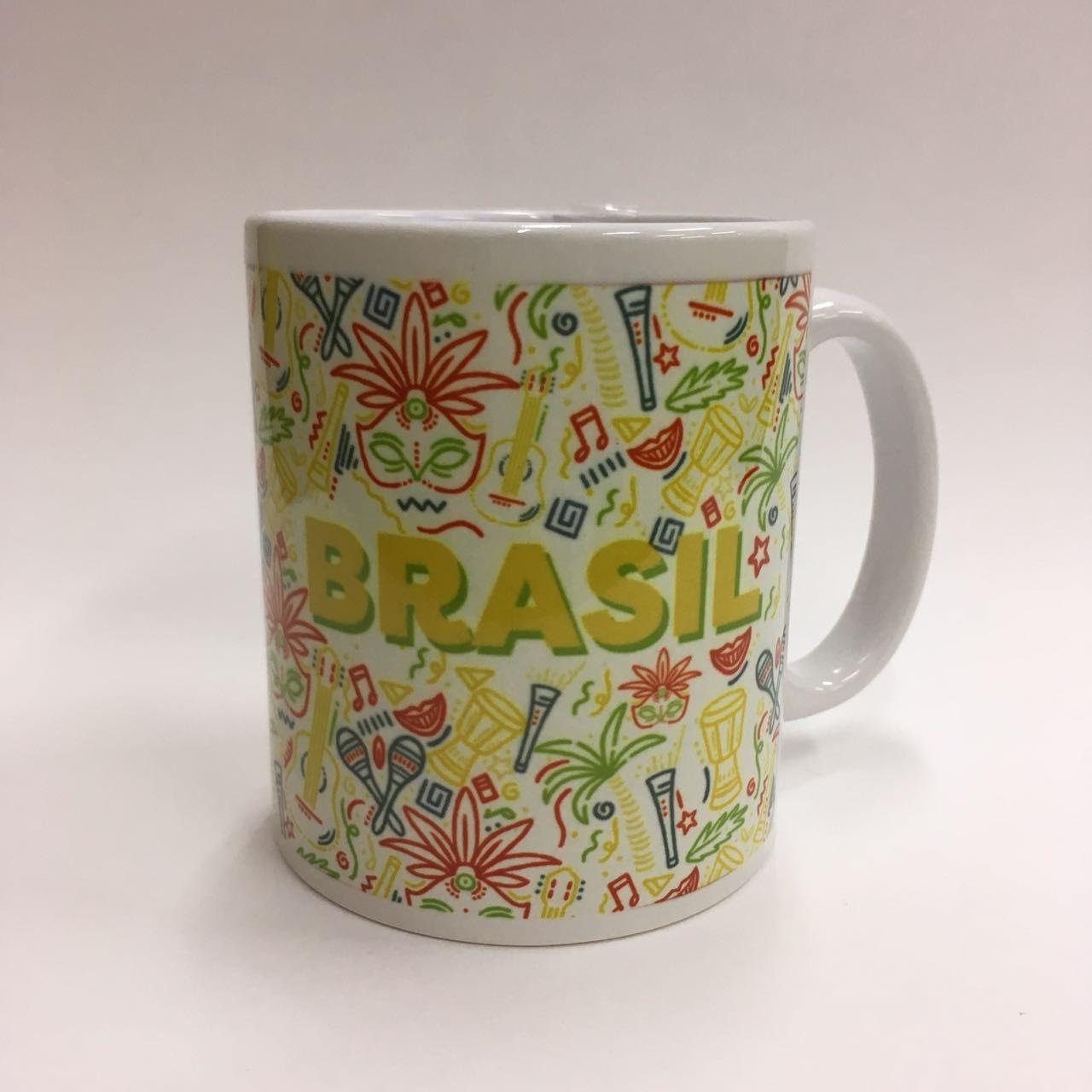 Caneca Brasil Fundo Colorido