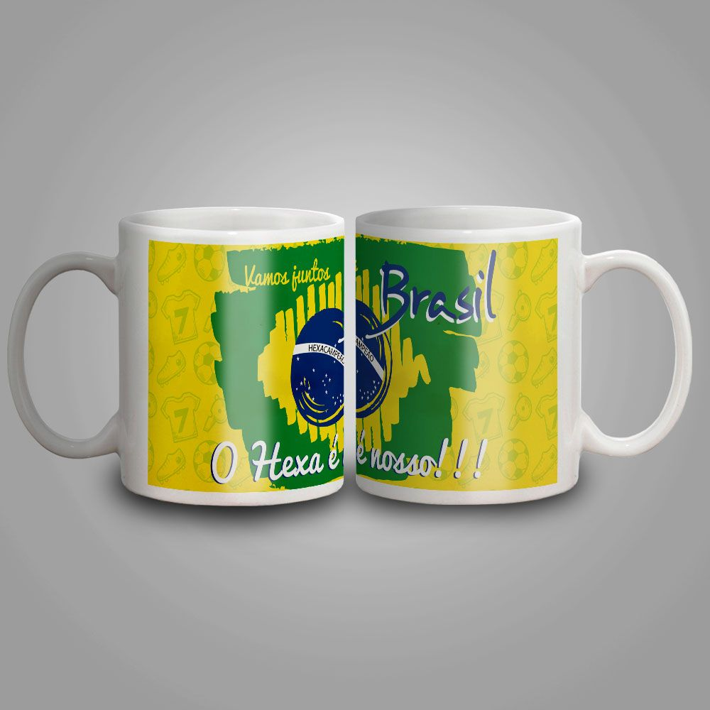Caneca Cerâmica Bandeira do Brasil