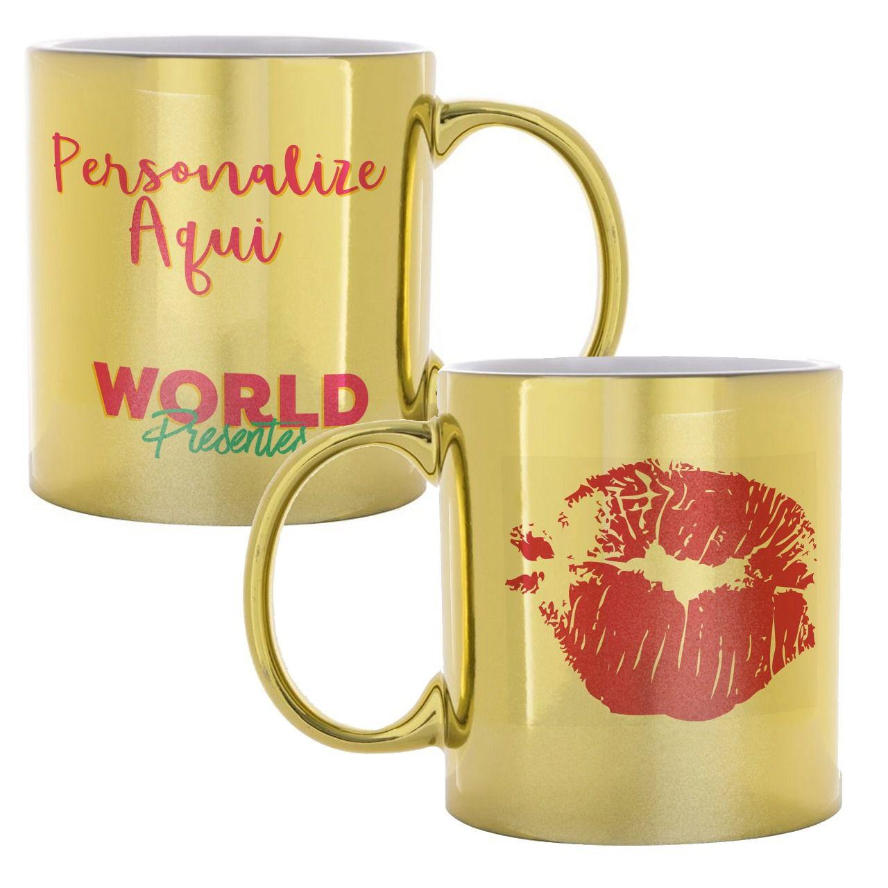 Caneca Personalizada de Cerâmica Dourada Cromada 325ml