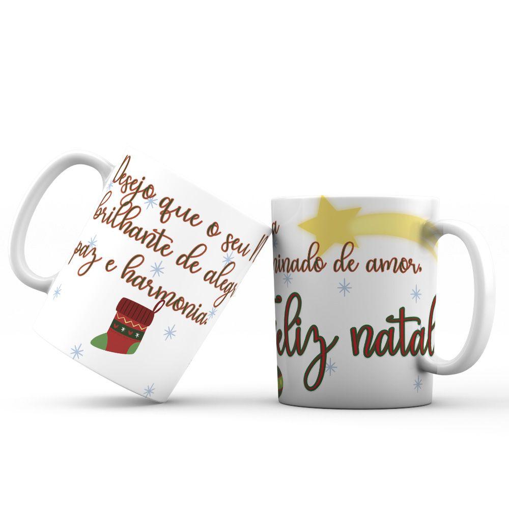 Caneca Natal de paz amor e Harmonia linha natal lindo