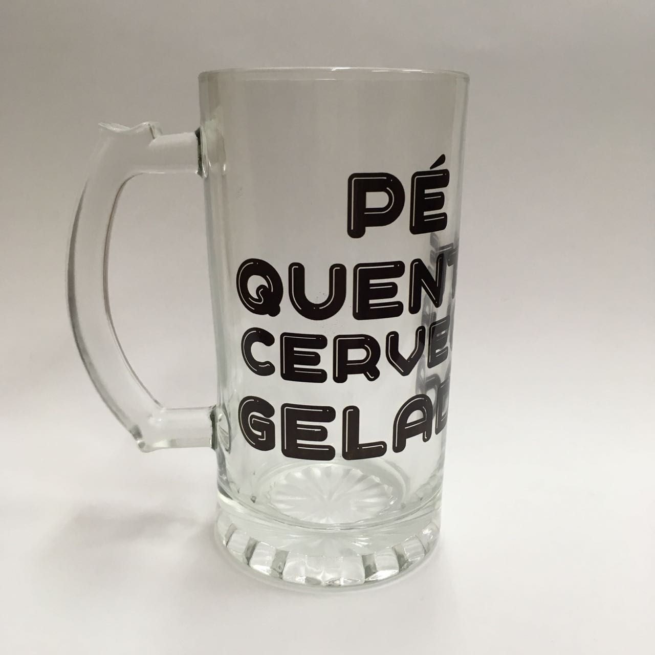 Caneco de Chopp de Vidro 475ml - Pé Quente Cerveja Gelada