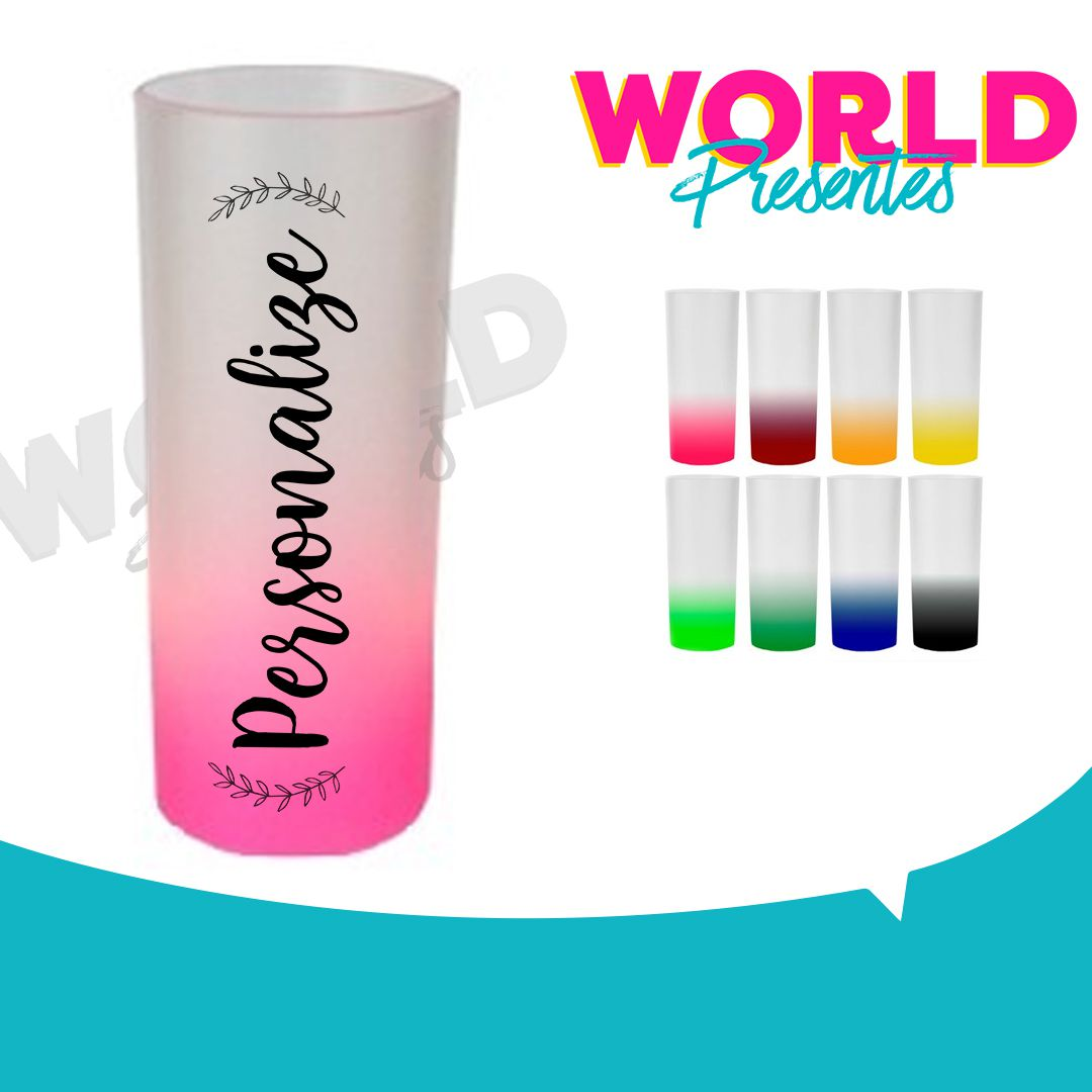 100 Copos Long Drink Degradê 350ml Personalizado