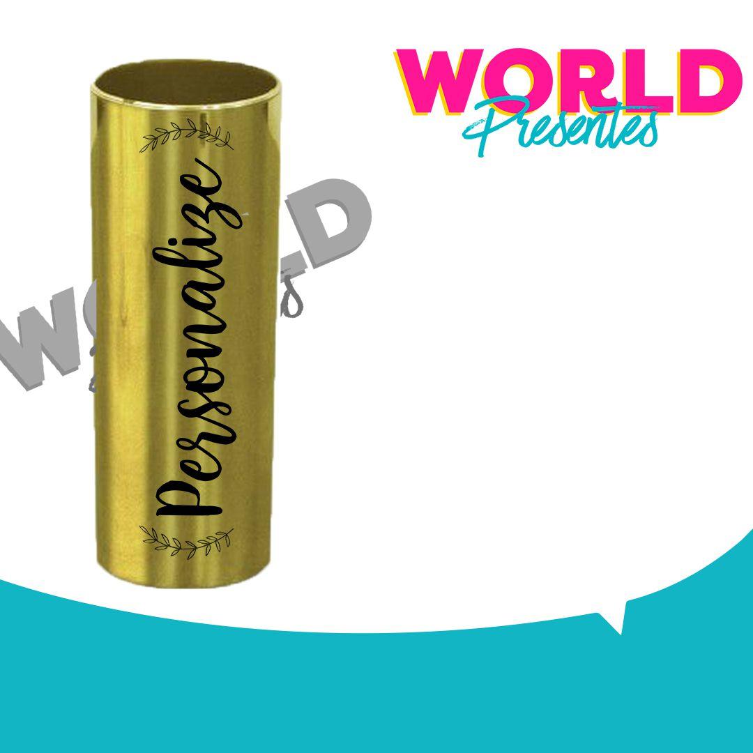 100 Copos Long Drink Golden Dourado 330ml Personalizado