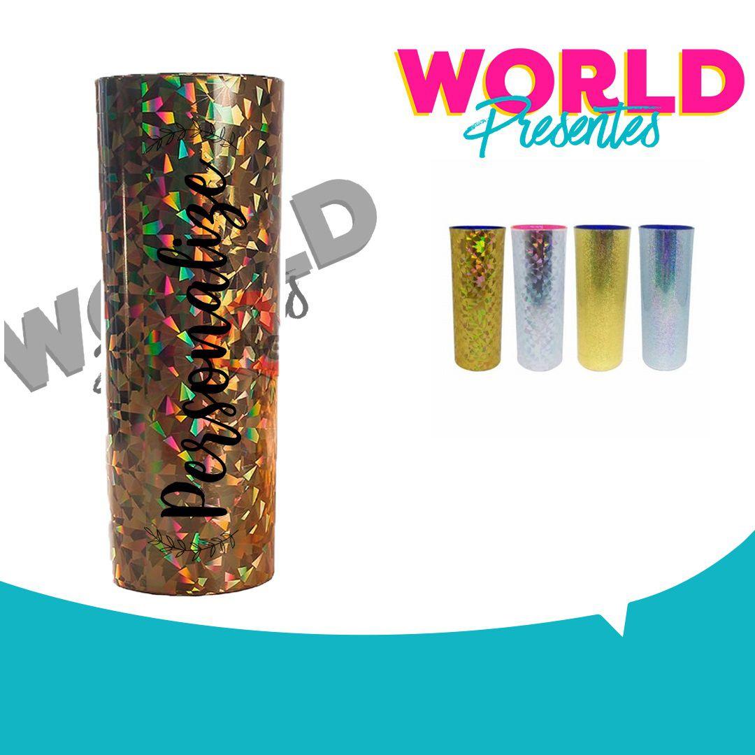 100 Copos Long Drink Holográfico 320ml Personalizado
