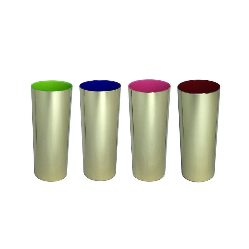 Copo Long Drink Metalizado Dourado  (10 unidades)