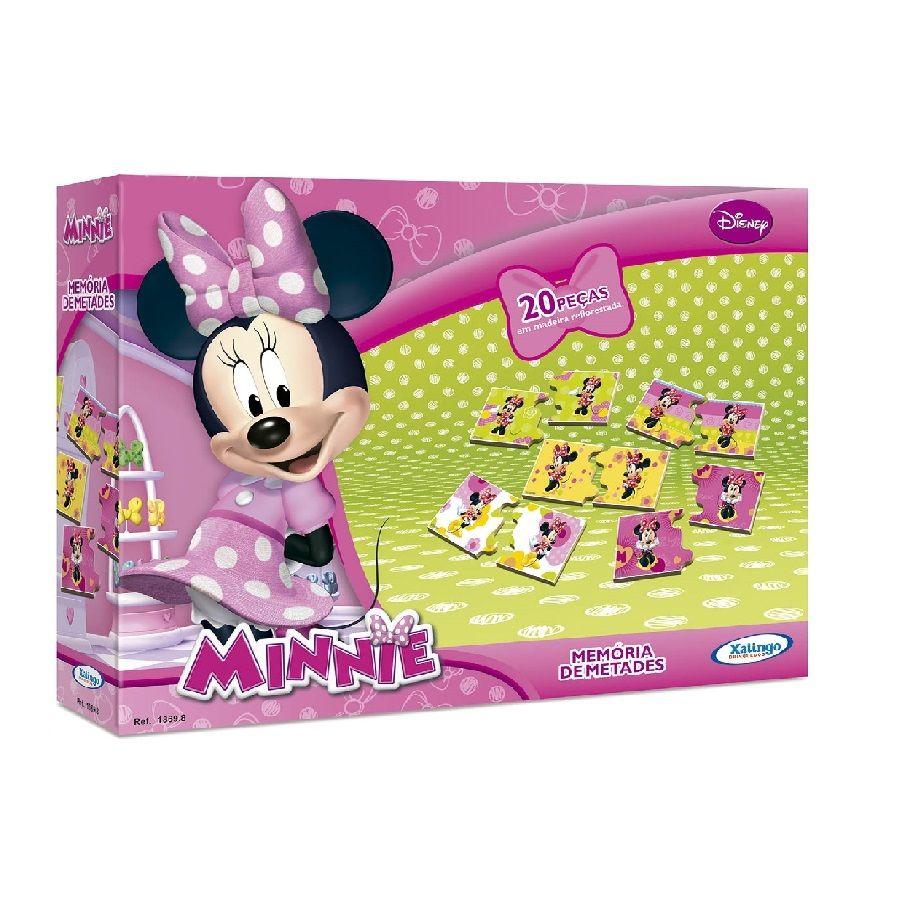 Jogo da Memória Memória de Metades Minnie Disney Xalingo 20 Peças