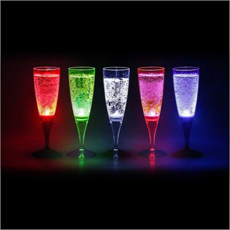 Taça Champanhe LIT 160ml, com LED Multicolor (10 unidades)