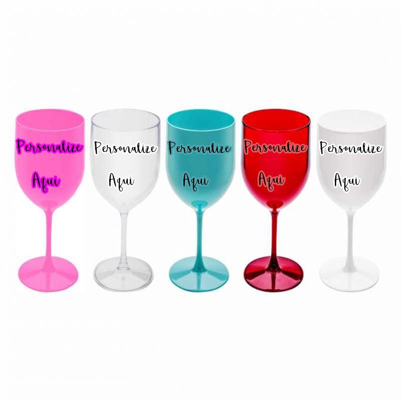 Taça vinho Gênova acrílico Personalizado  (10 unidades)