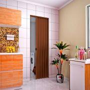 Porta sanfonada em PVC na cor mogno 0,80x2,10M
