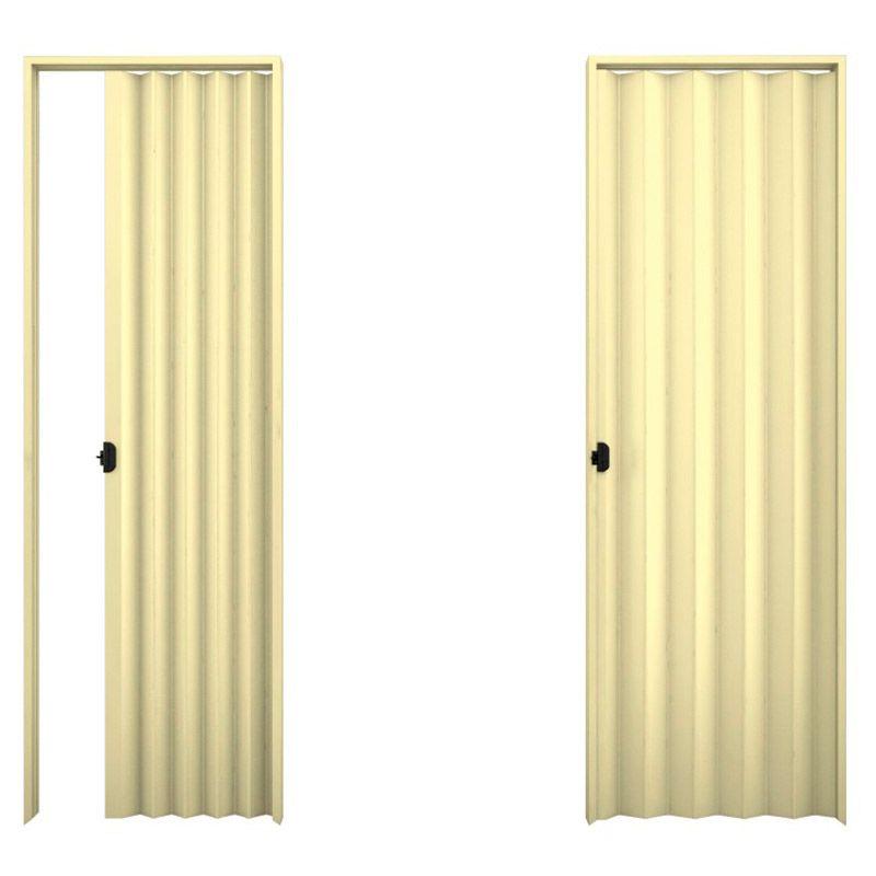Porta sanfonada em PVC na cor bege 0,90x2,10M